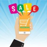 Smartphone con i discorsi della bolla di vendita e della mano, vettore di concetto di commercio elettronico Fotografia Stock