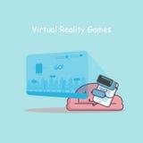 Smartphone con i giochi di realtà virtuale Fotografie Stock Libere da Diritti