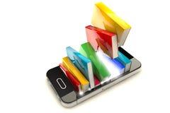 Smartphone con i libri illustrazione vettoriale