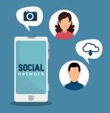 Smartphone con il collegamento digitale dell'uomo e della donna illustrazione di stock
