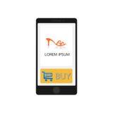 Smartphone con il deposito app, progettazione elegante Stile pulito e moderno Immagine Stock