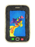 Smartphone con il fondo dei pesci Fotografie Stock Libere da Diritti
