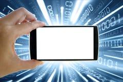 Smartphone con il fondo del collegamento a Internet Immagini Stock Libere da Diritti