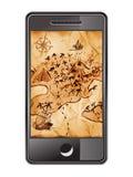 Smartphone con il programma del tesoro Immagine Stock