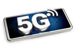 Smartphone con il segno 5G sullo schermo isolato su fondo bianco rappresentazione 3d illustrazione vettoriale