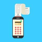 Smartphone con l'contante-appunto o lo stipendio sul blu Fotografie Stock