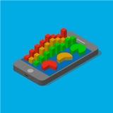Smartphone con l'istogramma finanziario Illustrazione Vettoriale