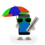 Smartphone con l'ombrello Fotografia Stock Libera da Diritti