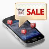 Smartphone con la bolla del messaggio circa la vendita Immagine Stock
