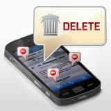 Smartphone con la burbuja del mensaje sobre la cancelación de los datos Fotografía de archivo