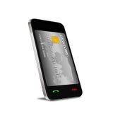 Smartphone con la comunicazione vicina del campo (NFC) che mostra un credito Immagine Stock