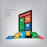 Smartphone con la interfaz de usuario del gráfico del estilo del metro Imagen de archivo