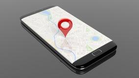 Smartphone con la mappa ed il puntiforme di rosso sullo schermo illustrazione di stock