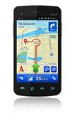 Smartphone con la navegación del GPS stock de ilustración