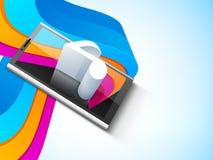 Smartphone con la nota musical 3D Imagen de archivo libre de regalías