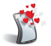 Smartphone con la nube de los simbols y de los corazones del SMS ilustración del vector