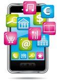 Smartphone con la nube delle applicazioni. Fotografia Stock