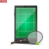 Smartphone con la pelota de tenis y el campo americanos encendido ilustración del vector
