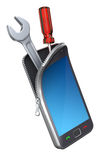 Smartphone con las herramientas Imagenes de archivo