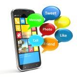 Smartphone con las medias burbujas sociales Imagen de archivo libre de regalías