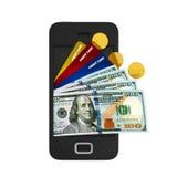 Smartphone con le carte di credito e dei soldi Fotografie Stock Libere da Diritti