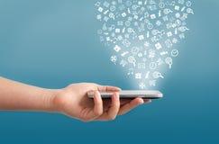 Smartphone con le icone Fotografia Stock