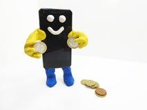 Smartphone con le mani Fotografia Stock Libera da Diritti