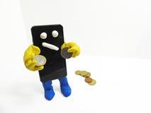 Smartphone con le mani Fotografia Stock