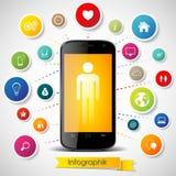 Smartphone con los iconos ilustración del vector