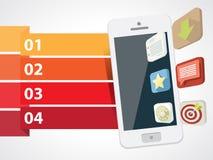 Smartphone con los iconos 3d con informaciones gráficas Fotografía de archivo libre de regalías