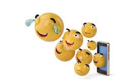 Smartphone con los iconos de Emoji ilustración 3D Imagenes de archivo