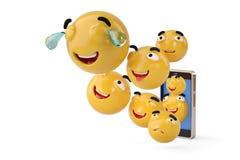 Smartphone con los iconos de Emoji ilustración 3D Fotografía de archivo
