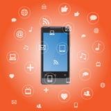 Smartphone con los iconos de la aplicación de los media Foto de archivo libre de regalías