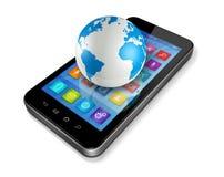 Smartphone con los iconos de los apps y el globo del mundo Imagen de archivo libre de regalías