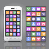 Smartphone con los iconos del App Imagen de archivo