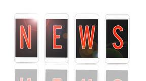 Smartphone con noticias rojas del texto en la exhibición en el fondo blanco, nuevo imagen de archivo