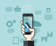 Smartphone con pagos móviles de la tarjeta de crédito Imagenes de archivo