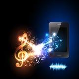 Smartphone con progettazione della luce della nota di musica royalty illustrazione gratis