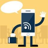Smartphone con progettazione piana della scheda di memoria a disposizione Immagini Stock