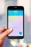 Smartphone con Skype en la pantalla Foto de archivo libre de regalías