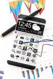 Smartphone con un'esposizione trasparente Fotografie Stock