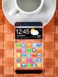 Smartphone con un'esposizione trasparente Fotografie Stock Libere da Diritti