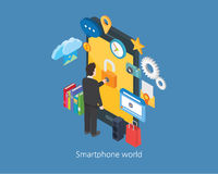 Smartphone concept design 3d isometric world and businessman.  stock illustration