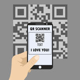 Smartphone concept with a qr code scanning Stock Photography