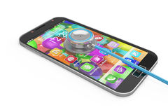 Smartphone concept. Smart phone and stethoscope, first aid Stock Photography