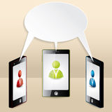 Smartphone conference illustrated with speech bubble Royalty Free Stock Photo