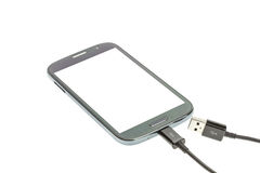 Smartphone connect with charger Stock Photography
