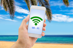 Smartphone and connect wifi Stock Photos