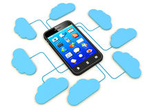 Smartphone connected to cloud server. Stock Images