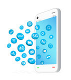 Smartphone with connection apps icon floating Stock Image